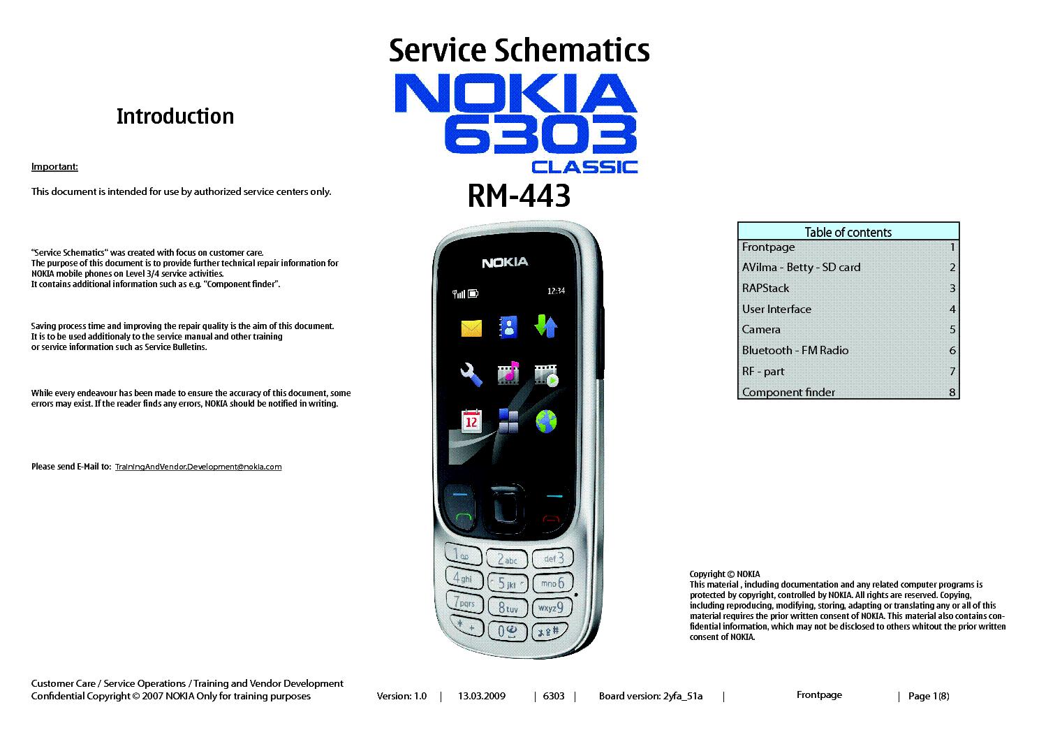 nokia 6303  rm 443  schematics sch service manual download Nokia E66 Nokia E61